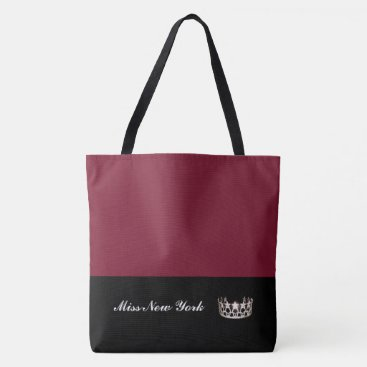 USA Themed Miss  USA Silver Crown Tote Bag-Large Wine