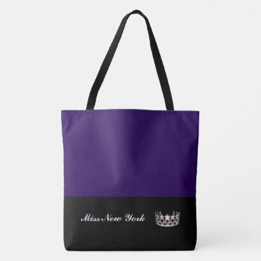 USA Themed Miss USA Silver Crown Tote Bag-LRGE Blackberry