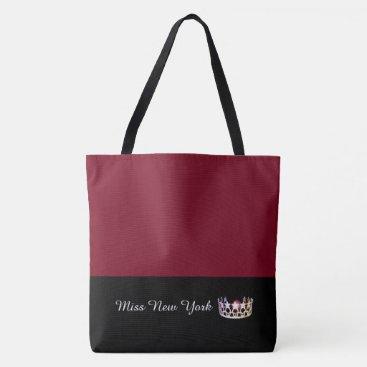 USA Themed Miss USA Silver Crown Tote Bag-LRGE Crimson