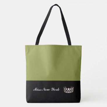 USA Themed Miss USA Silver Crown Tote Bag-LRGE Olive