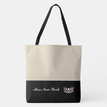 USA Themed Miss USA State Silver Crown Tote Bag-Large Beige