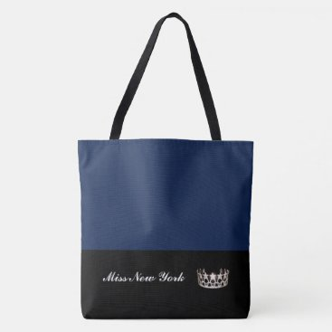 USA Themed Miss USA State Silver Crown Tote Bag-Large Navy