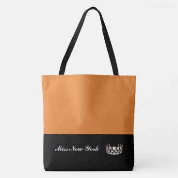 USA Themed Miss USA State Silver Crown Tote Bag-Large Orange