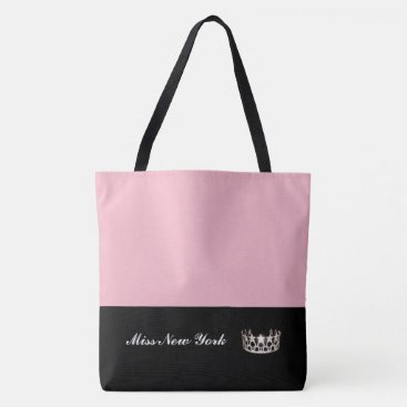 USA Themed Miss USA State Silver Crown Tote Bag-Large Pink