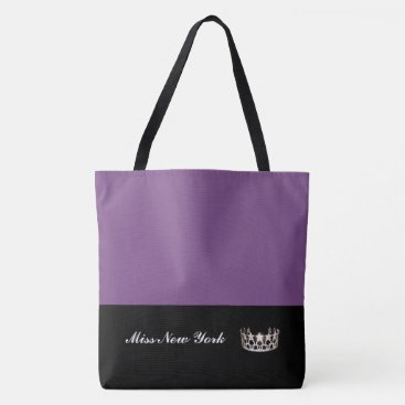 USA Themed Miss USA State Silver Crown Tote Bag-Large Purple