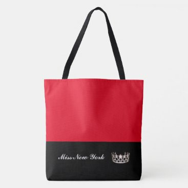 USA Themed Miss USA State Silver Crown Tote Bag-Large Red