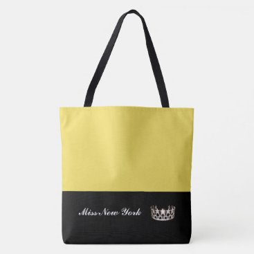 USA Themed Miss USA State Silver Crown Tote Bag-Large Yellow