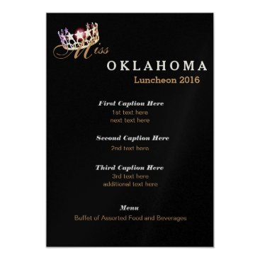 USA Themed Miss USA style Black Shimmer Luncheon Program Card