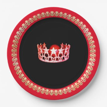 """USA Themed Miss USA style Bright Red 9"""" Paper Plates"""
