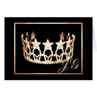 Miss USA style Crown Custom Monogram Note Card