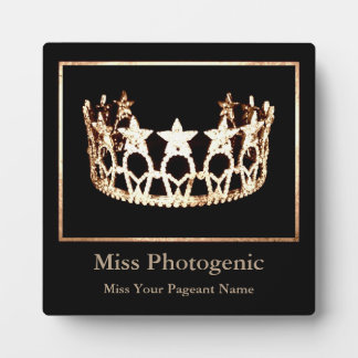 Miss USA style Gold Crown Custom Awards Plaque