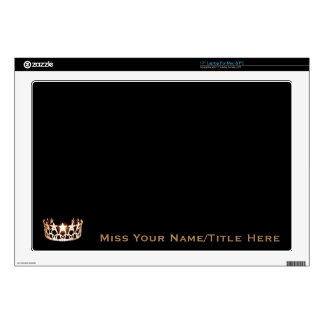 Miss USA style Gold Crown Custom Name Laptop Skins