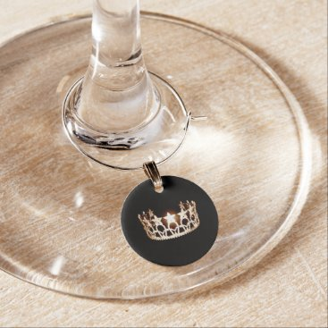 USA Themed Miss USA Style Gold Crown Wine Glass Charm