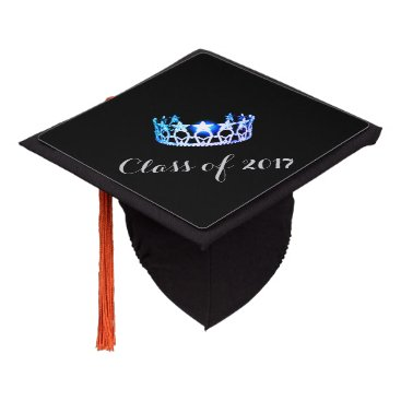Hawaiian Themed Miss USA style Graduation Cap Topper Blue Crown