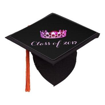 USA Themed Miss USA style Graduation Cap Topper Raspbry Crown