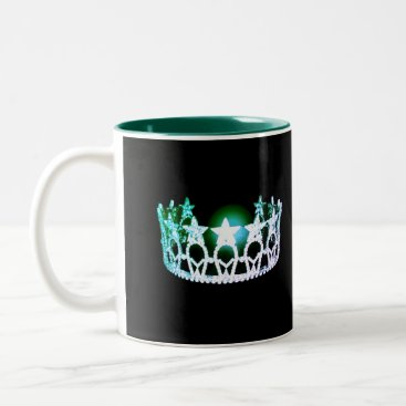 USA Themed Miss USA style Green & Silver Crown Mug