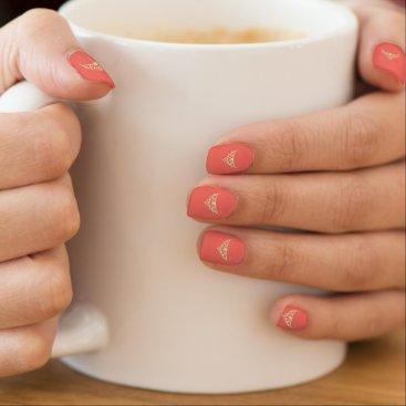 USA Themed Miss USA style Minx Nails Gold Tiara-Coral Minx Nail Art