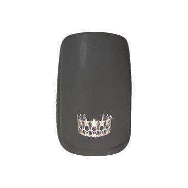 USA Themed Miss USA style Minx Nails Silver Crown Minx Nail Art