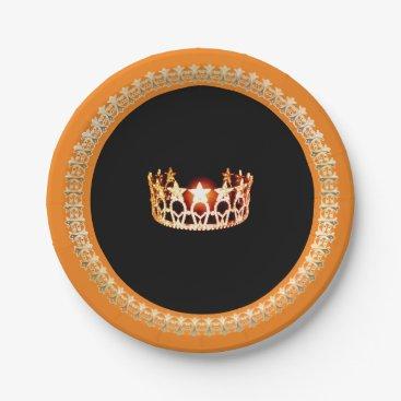 "USA Themed Miss USA style Orange 7"" Paper Plates"