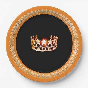 "USA Themed Miss USA style Orange 9"" Paper Plates"