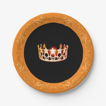 """USA Themed Miss USA style Orange Crown 7"""" Paper Plates"""