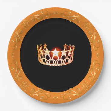"""USA Themed Miss USA style Orange Crown 9"""" Paper Plates"""