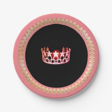 """USA Themed Miss USA style Pink-Coral 7"""" Paper Plates"""