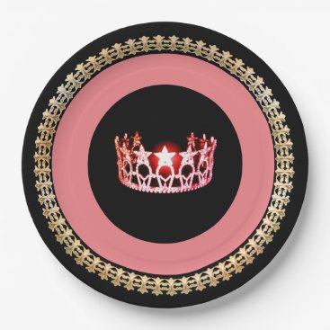 """USA Themed Miss USA style Pink-Coral 9"""" Paper Plates"""
