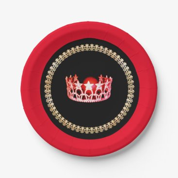 """USA Themed Miss USA style Red-Coral 7"""" Paper Plates"""