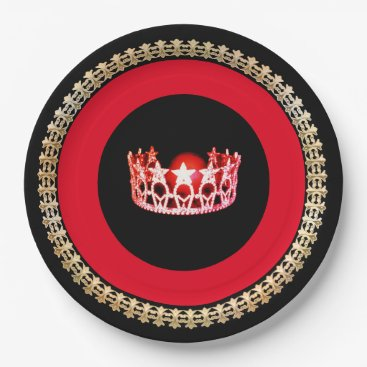 """USA Themed Miss USA style Red-Coral 9"""" Paper Plates"""