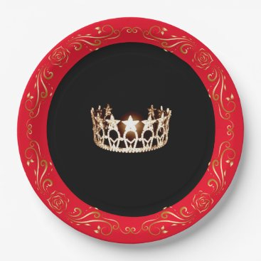 """USA Themed Miss USA style Red Gold Crown 9"""" Paper Plates"""