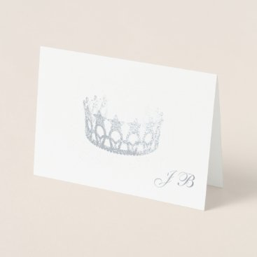 USA Themed Miss USA Style Silver Foil Crown & Monogram Card