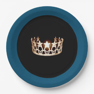 """Miss USA style Teal & Gold Crown 9"""" Paper Plates"""