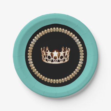 """USA Themed Miss USA style Turquoise 7"""" Paper Plates"""
