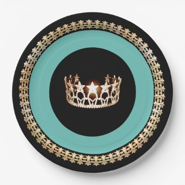 """USA Themed Miss USA style Turquoise Crown 9"""" Paper Plates"""
