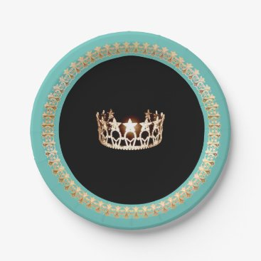 """USA Themed Miss USA Turquoise 7"""" Paper Plates"""