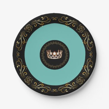 """USA Themed Miss USA Turquoise Gold Crown 7"""" Paper Plates"""