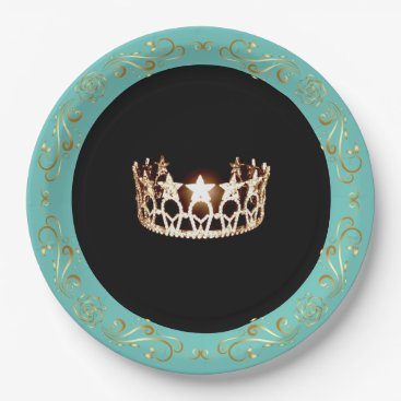 USA Themed Miss USA Turquoise Gold Crown Paper Plates