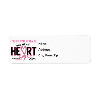 Miss With All My Heart Mom and Aunt Breast Cancer Return Address Label