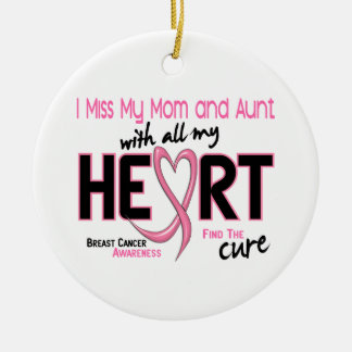 Miss With All My Heart Mom and Aunt Breast Cancer Double-Sided Ceramic Round Christmas Ornament