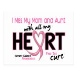 Miss With All My Heart Mom and Aunt Breast Cancer Postcard