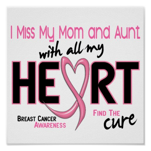 Miss With All My Heart Mom and Aunt Breast Cancer Posters