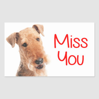 Miss You Airedale Terrier Puppy Dog Sticker