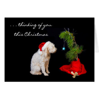 Miss You at Christmas - Dog Looking at Tree Greeting Card