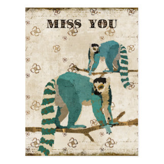 Miss You Azure Lemurs Postcard
