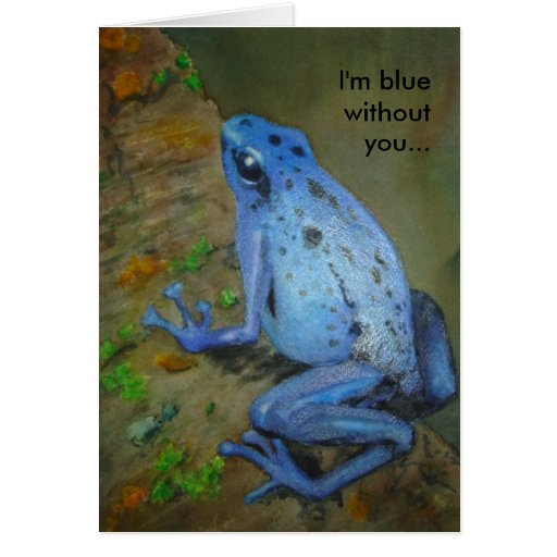 Miss You Blue Frog Thinking of You Card
