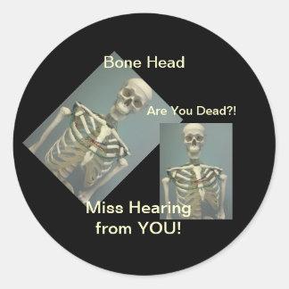 Miss You Bone Head Skull Stickers
