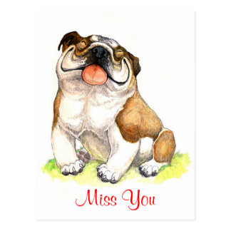 Miss You Bulldog Puppy Dog Greeting Postcard
