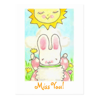 Miss You! bunny post card