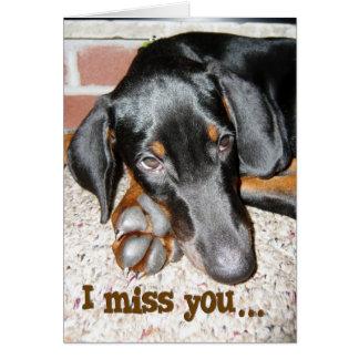 Miss You - Doberman Pinscher Puppy Card